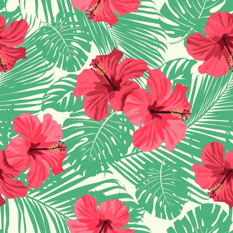 Fleurs et palmettes tropicales sur le fond seamless Configuration de vecteur illustration de vecteur