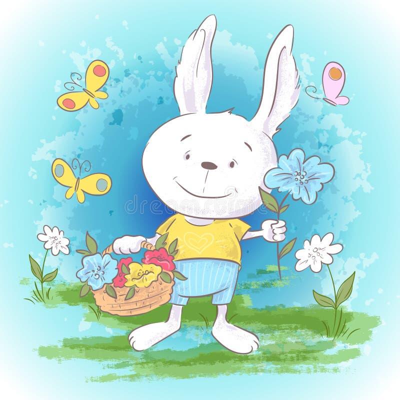 Fleurs et papillons mignons de li?vres de carte postale d'illustration petits Copie sur la pi?ce de v?tements et d'enfants illustration de vecteur