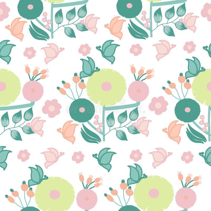 Fleurs et papillons ronds modernes illustration de vecteur