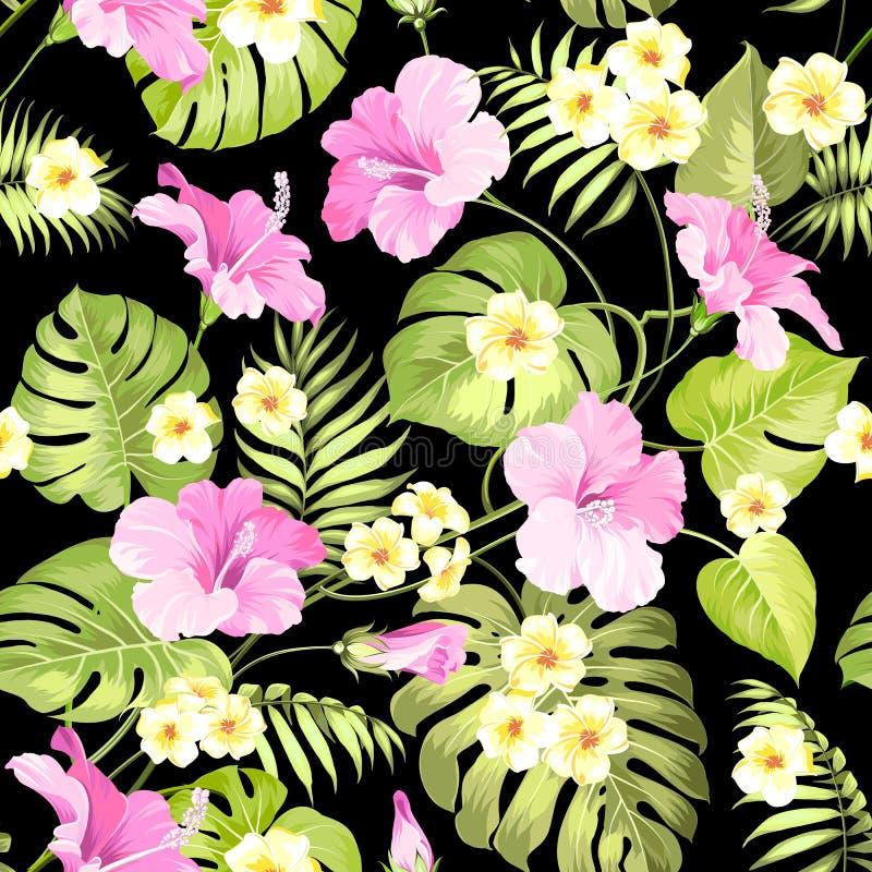 Fleurs et paumes tropicales de jungle illustration stock