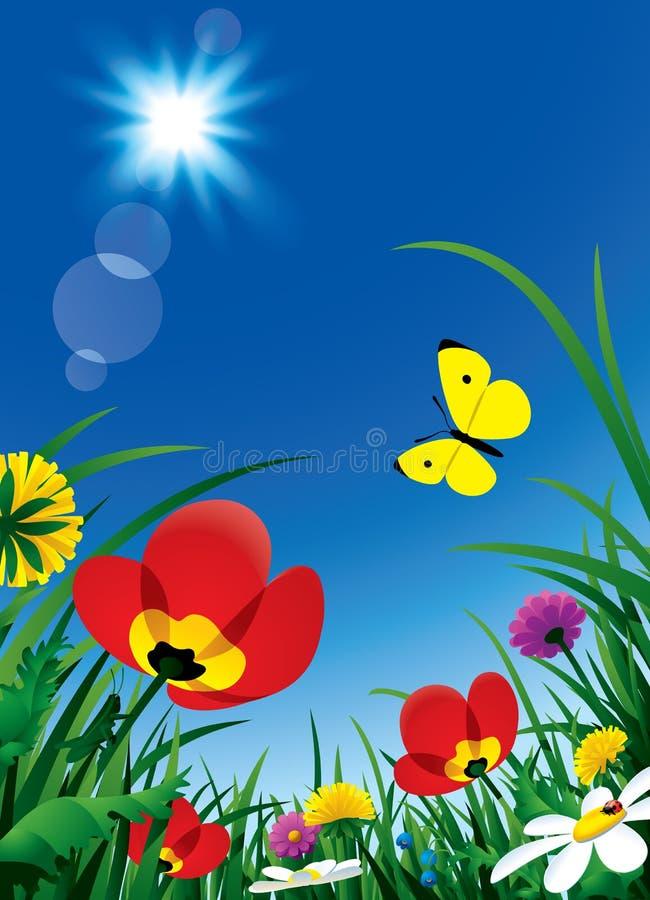 Fleurs et Sun illustration stock