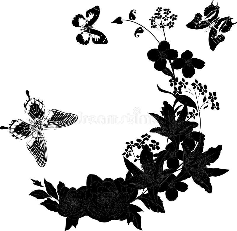 Fleurs et trois guindineaux noirs illustration libre de droits