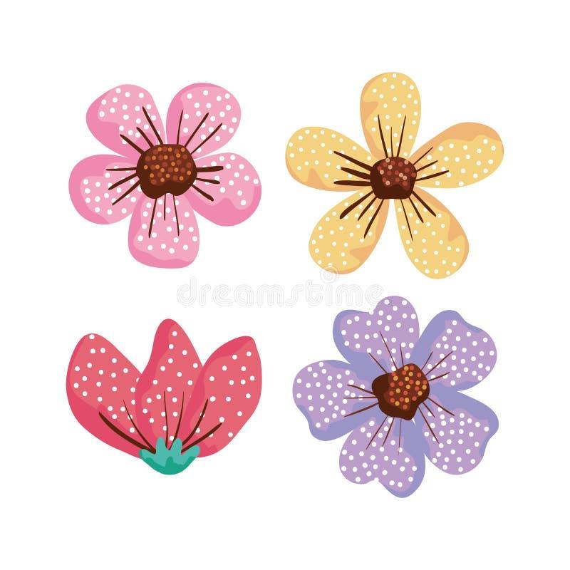 Fleurs exotiques réglées avec des pétales de nature illustration libre de droits