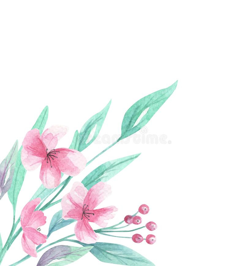 Fleurs faisantes le coin d'Aqua Green Arch Floral Border d'aquarelle de vue de fleurs roses illustration de vecteur