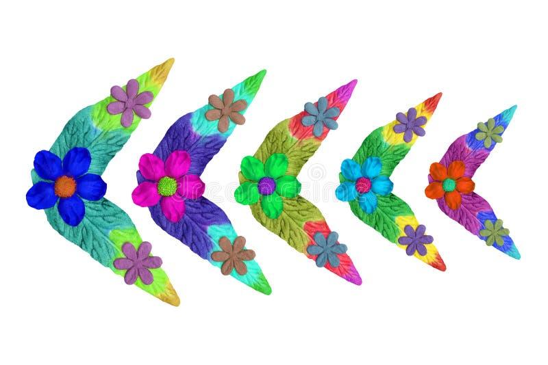 Fleurs faites de papier coloré utilisé pour la décoration photos libres de droits