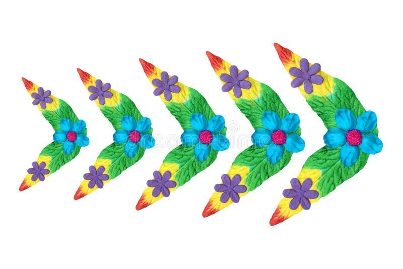 Fleurs faites de papier coloré utilisé pour la décoration photo stock