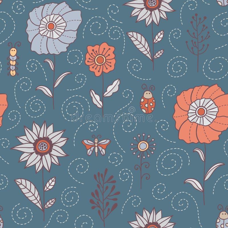 Fleurs, feuilles et modèle sans couture d'insectes Ressort et fond gris pâle floral d'été Texture botanique tirée par la main dan illustration libre de droits