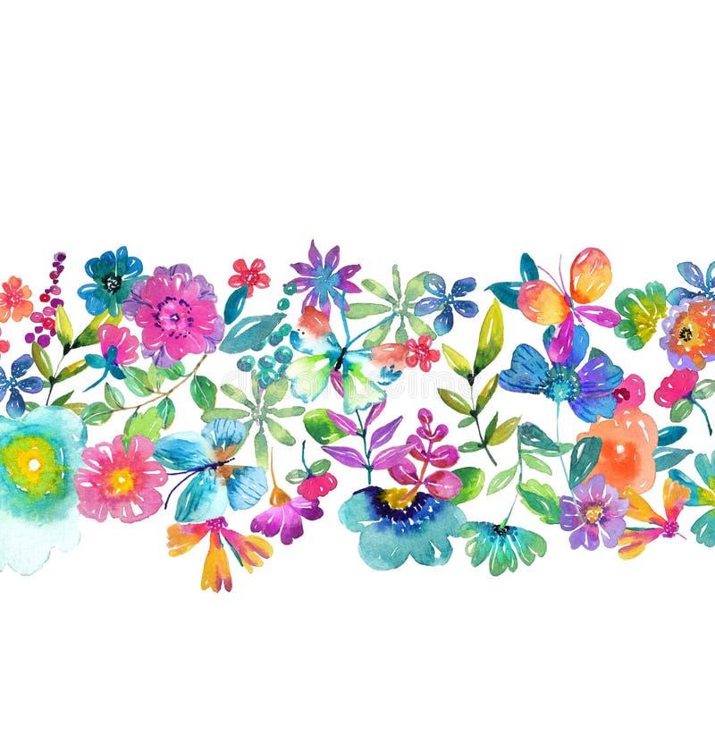 Fleurs, feuilles et papillon de couleur d'aquarelle illustration de vecteur