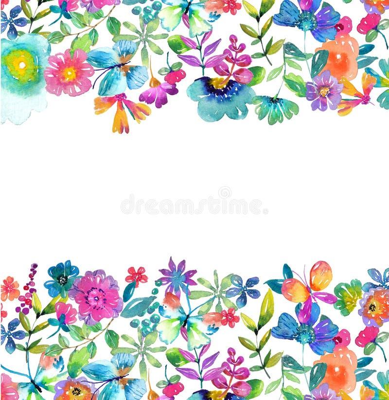 Fleurs, feuilles et papillon de couleur d'aquarelle illustration libre de droits