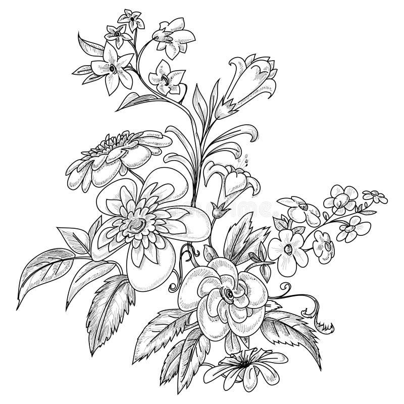 Fleurs fleuries graphiques illustration de vecteur