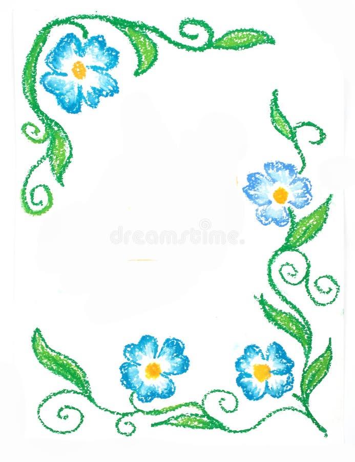 Fleurs florales de bleu de coin de cadre illustration stock