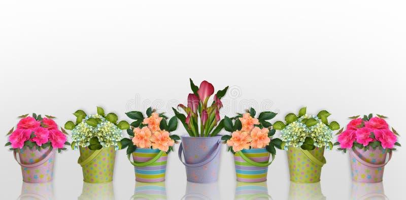 Fleurs florales de cadre dans des conteneurs colorés illustration libre de droits