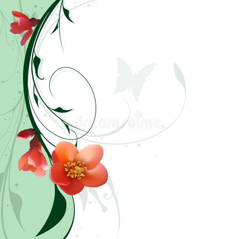 Fleurs florales et rouges illustration stock