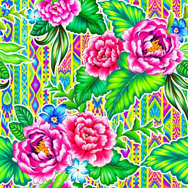 Fleurs folkloriques avec le fond aztèque illustration stock