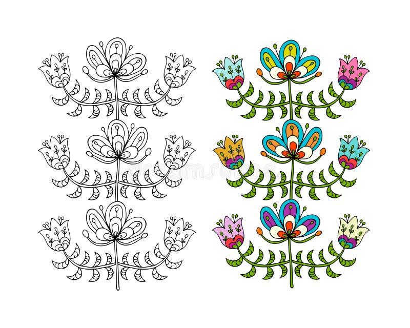 Fleurs folkloriques scandinaves de style pour votre conception illustration de vecteur