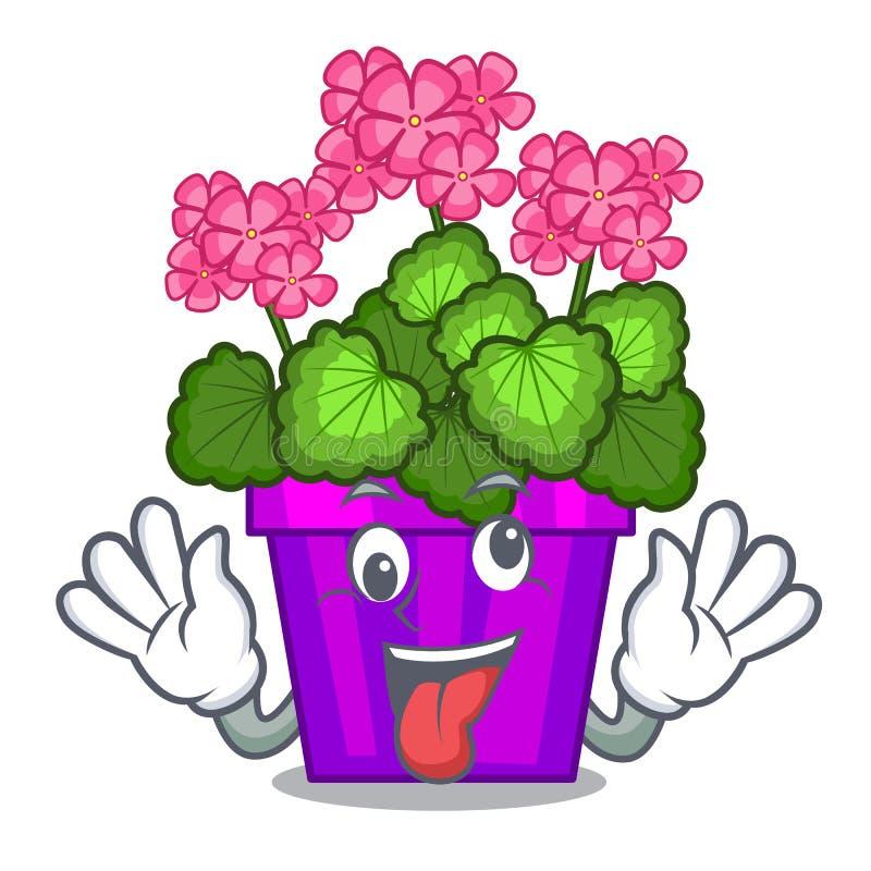 Fleurs folles de géranium dans la forme de bande dessinée illustration de vecteur
