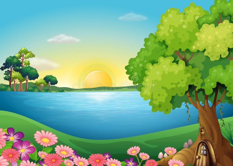 Fleurs fraîches à la rive près de la cabane dans un arbre illustration libre de droits