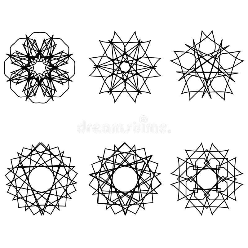 Fleurs géométriques d'astrologie d'étoile d'icône de modèle illustration libre de droits