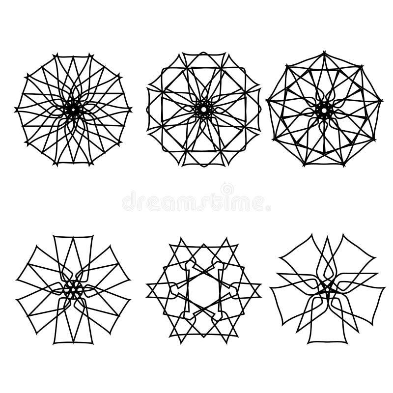 Fleurs géométriques d'astrologie d'étoile d'icône de modèle réglées illustration libre de droits