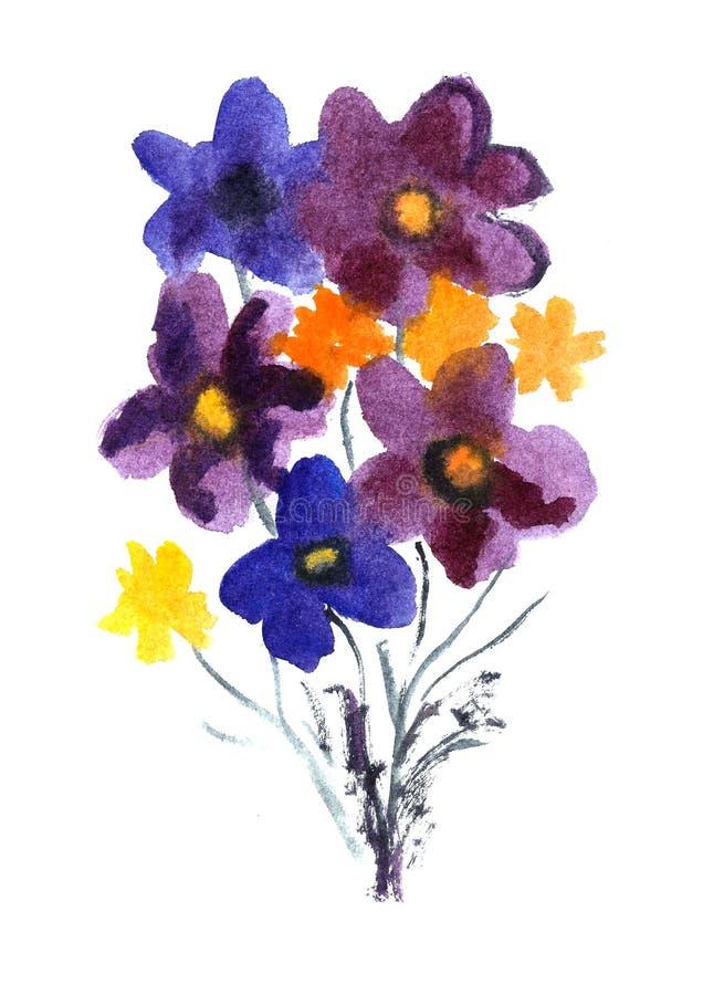 Fleurs gentilles d'aquarelle illustration stock