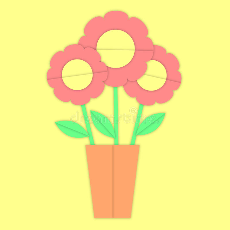 Fleurs gentilles plates dans le pot images libres de droits
