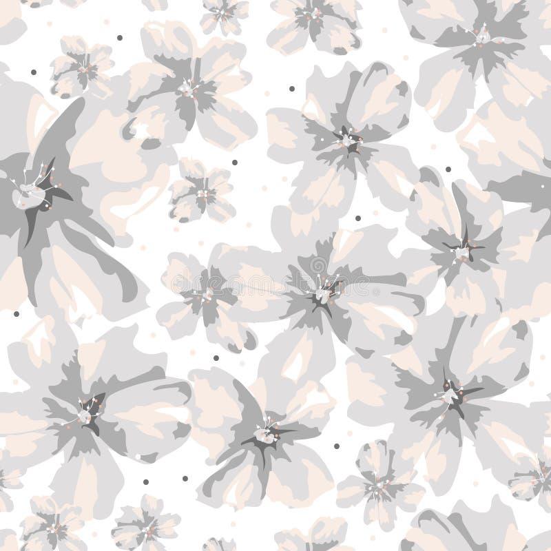 Fleurs grises et roses de taille différente abstraite sur le fond blanc illustration libre de droits
