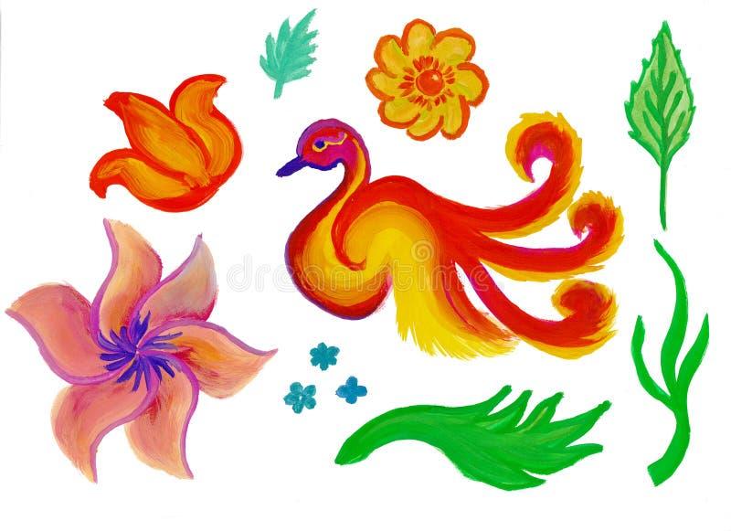 Fleurs, herbes et un ensemble de décor de firebird images libres de droits