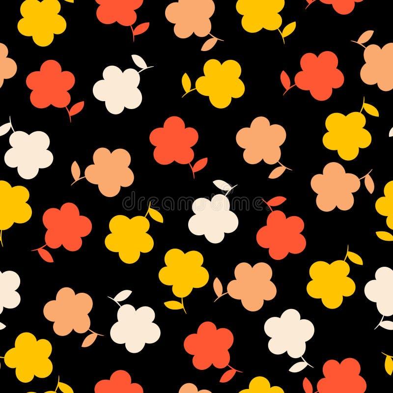 Fleurs japonaises de kawaii sur un fond noir jeté en l'air répétant le modèle photos libres de droits