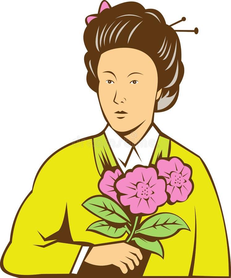 Fleurs japonaises de kimono de femme illustration de vecteur