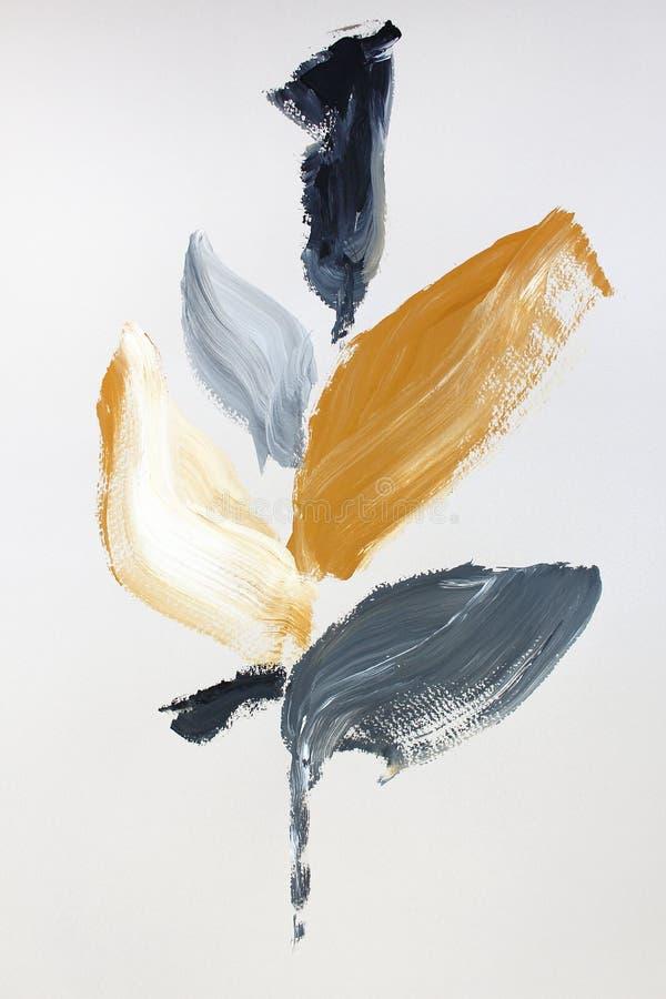 fleurs jaunes sur la toile Fond d'art abstrait Texture de couleur Fragment d'illustration Peinture abstraite sur la toile illustration libre de droits