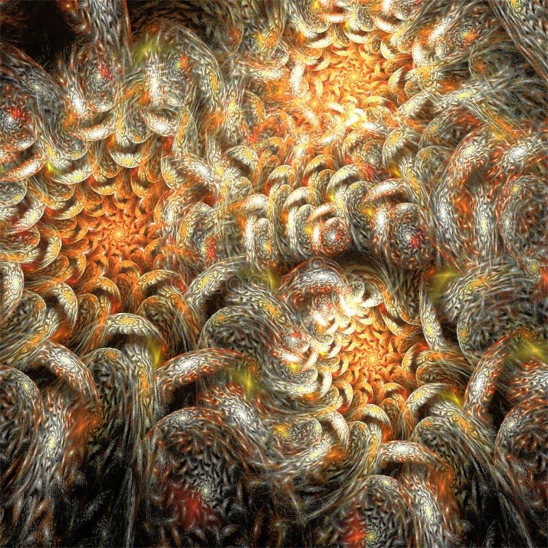 Fleurs légères douces romantiques d'art abstrait de fractale illustration de vecteur