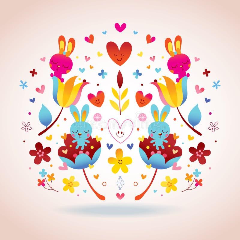 Fleurs, lapins, illustration d'amour de coeurs illustration de vecteur