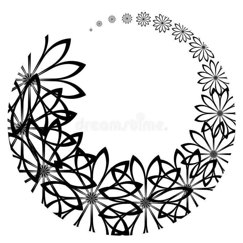Fleurs noires arrondies illustration stock