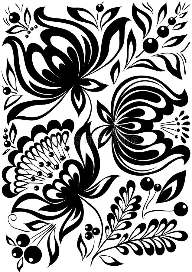 Fleurs noires et blanches. Rétro ornement élégant. élément de conception illustration de vecteur