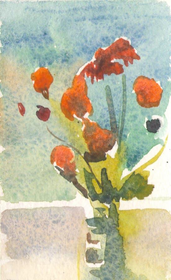 Fleurs oranges dans un vase illustration stock