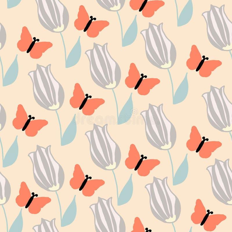 Fleurs oranges de papillon et de crème, modèle sans couture illustration stock