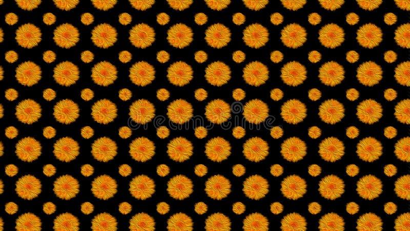 Fleurs oranges sur le noir image stock