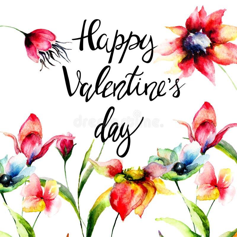 Fleurs originales avec le Saint Valentin heureux de titre illustration stock