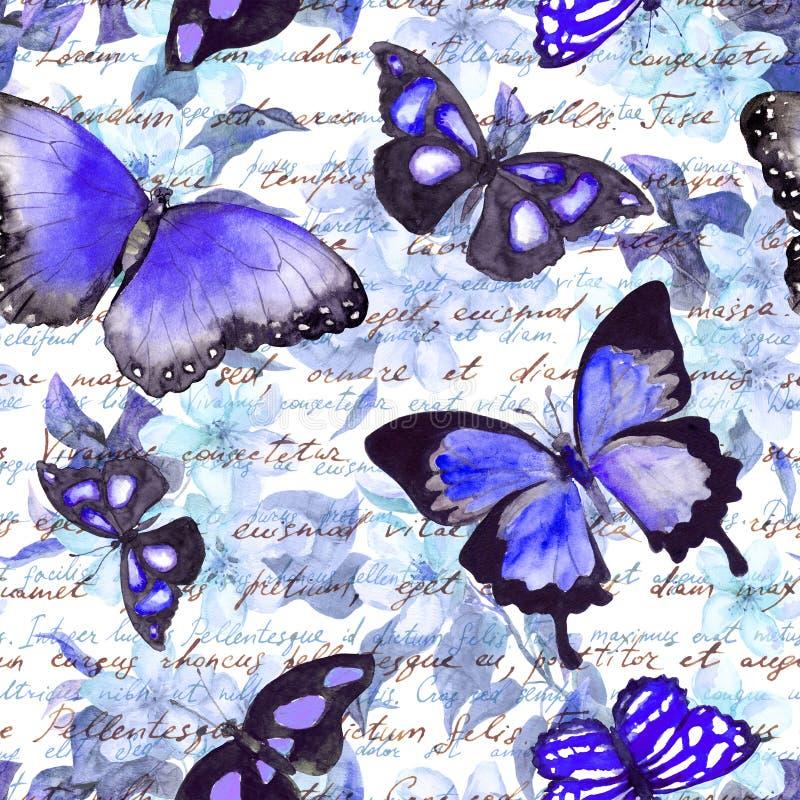 Fleurs, papillons, note des textes écrits de main watercolor Configuration sans joint illustration libre de droits