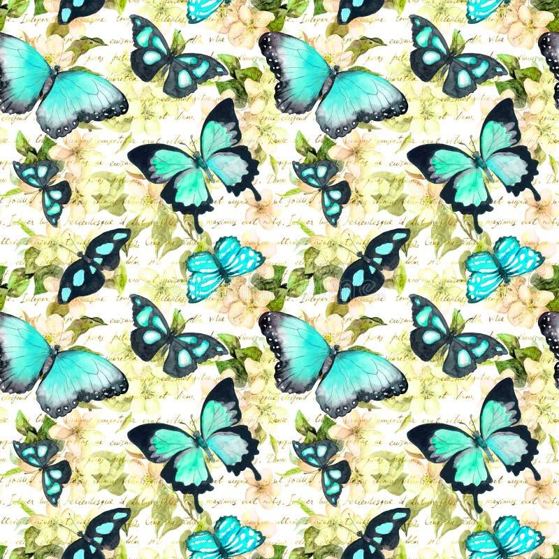Fleurs, papillons, note des textes écrits de main watercolor Configuration sans joint illustration de vecteur