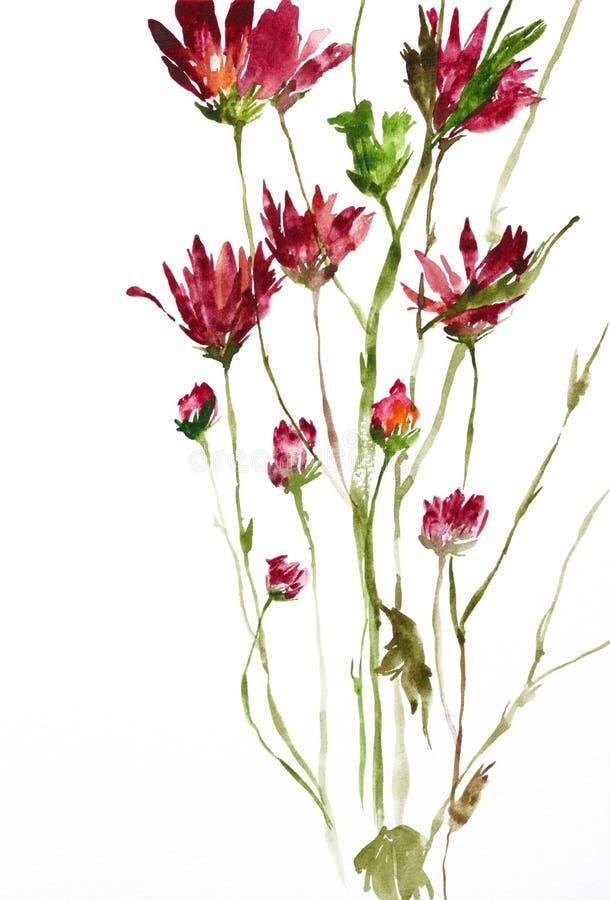 fleurs peignant l'aquarelle illustration stock