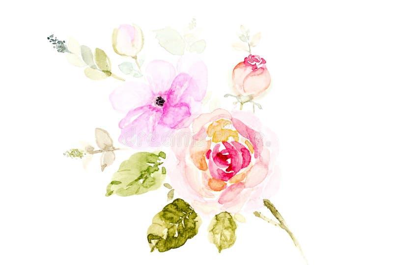 Fleurs peintes à la main de bouquet d'aquarelle sur un fond blanc illustration libre de droits