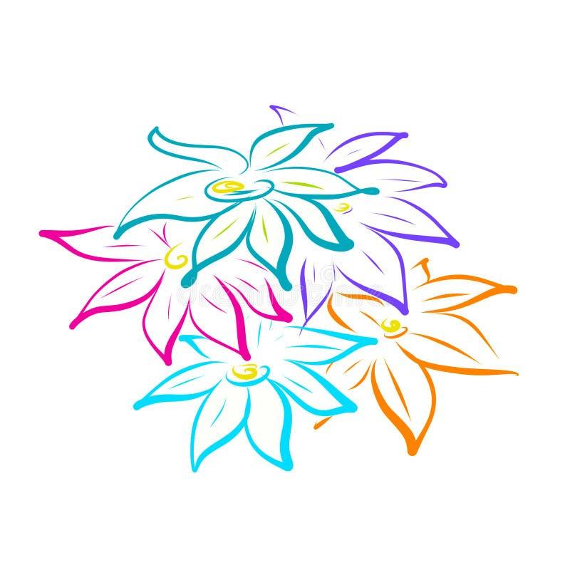 Fleurs peintes sur le blanc image libre de droits