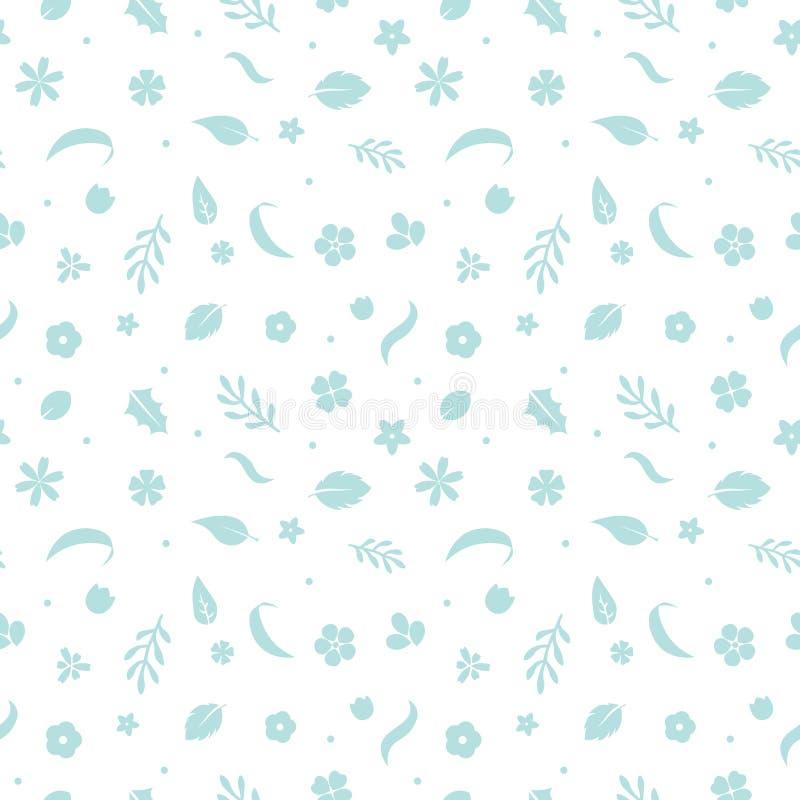 Fleurs plates de vecteur, modèle floral sans couture illustration stock