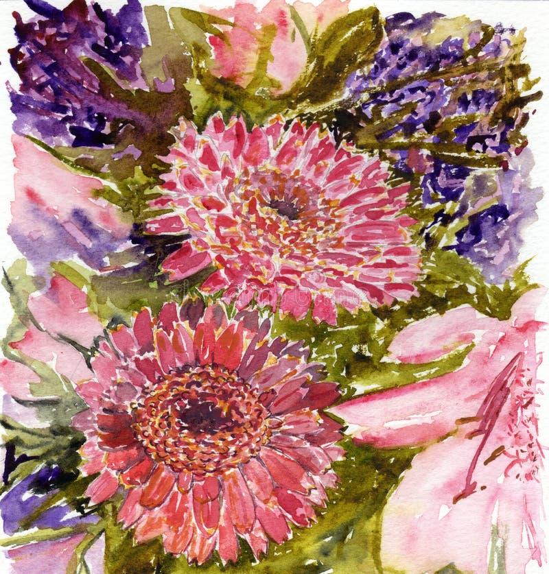 Fleurs pour aquarelle photographie stock libre de droits