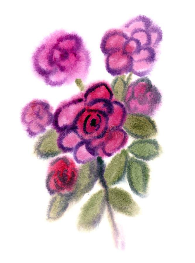 Fleurs pourprées peintes dans l'aquarelle illustration de vecteur