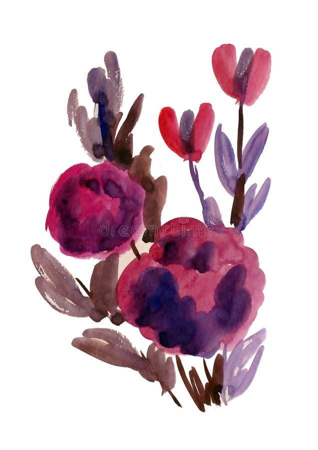Fleurs pourprées peintes dans l'aquarelle illustration libre de droits