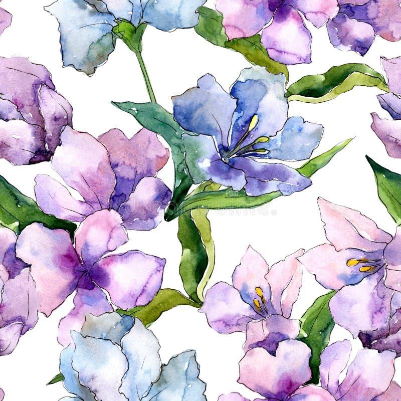 Fleurs pourpres et bleues d'alstroemeria Fleur botanique florale Modèle sans couture de fond illustration libre de droits