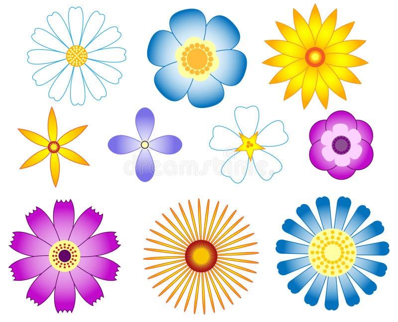Fleurs réglées. illustration stock