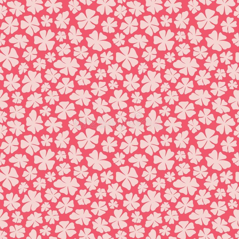 Fleurs roses écervelées tirées par la main sur un fond rouge dans un modèle sans couture jeté en l'air Jolie conception florale d illustration stock